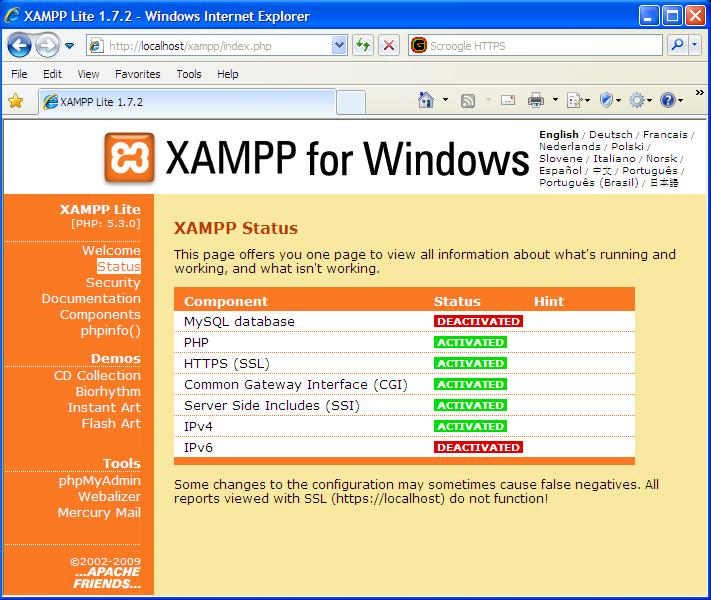 Screen capture of XAMPPlite status screen